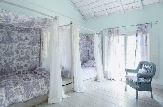 Daybeds with toile canopy