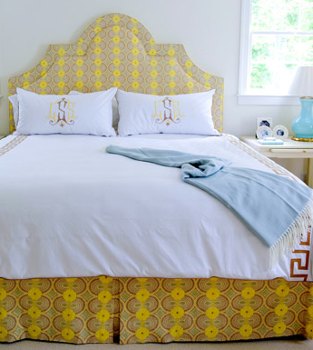 Upholstered headboard and matching bedskirt